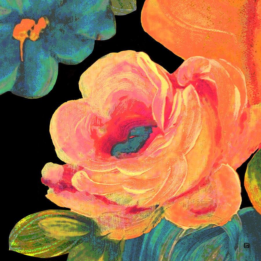 Vintage Rose on Black by Lisa Weedn