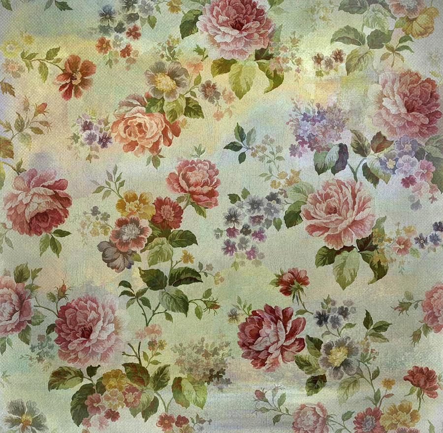 Vintage Rose Wallpaper Digital Art By Grace Iradian