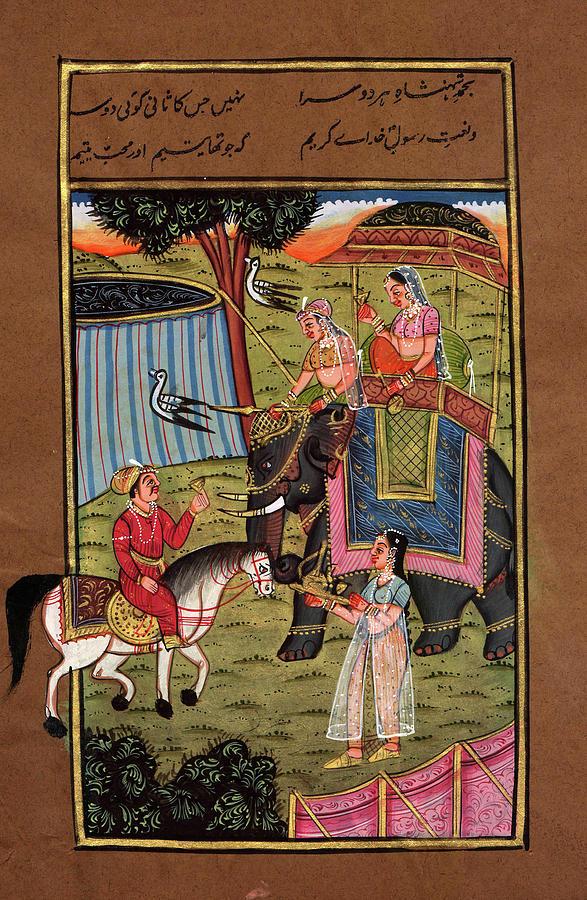 vintage royal king miniature painting online old postcard indian art