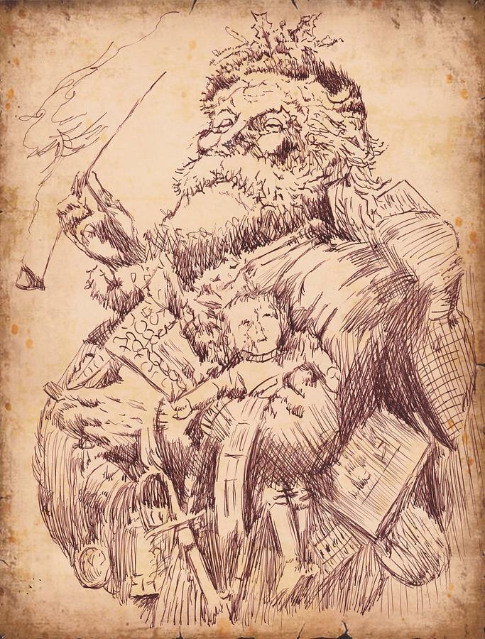 Vintage Drawing - Vintage Santa by Robbi  Musser