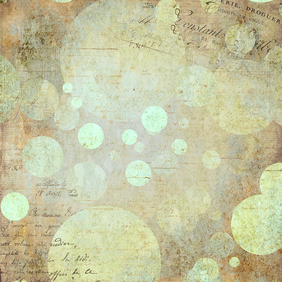 Brandi Fitzgerald Digital Art - Vintage Script And Gold Bubbles by Brandi Fitzgerald