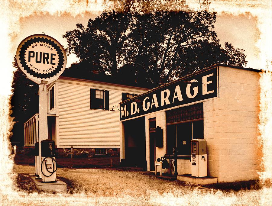 Vintage Service Station Photograph