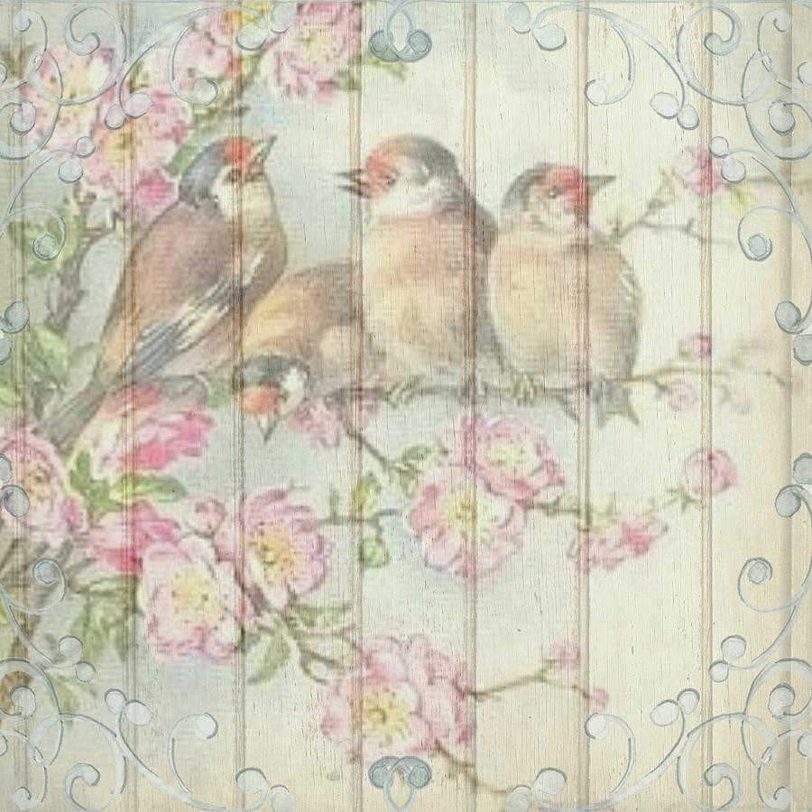 Vintage Shabby Chic Floral Faded Birds Design Painting By Joy Of Life Art