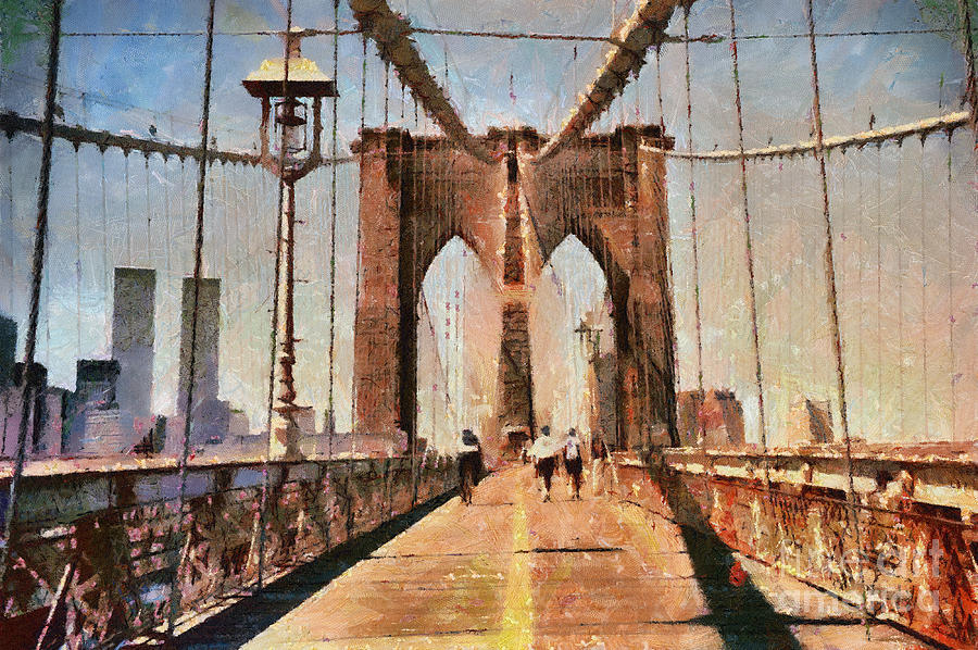 Vintage Shot Of Brooklyn Bridge With Twin Towers Photograph