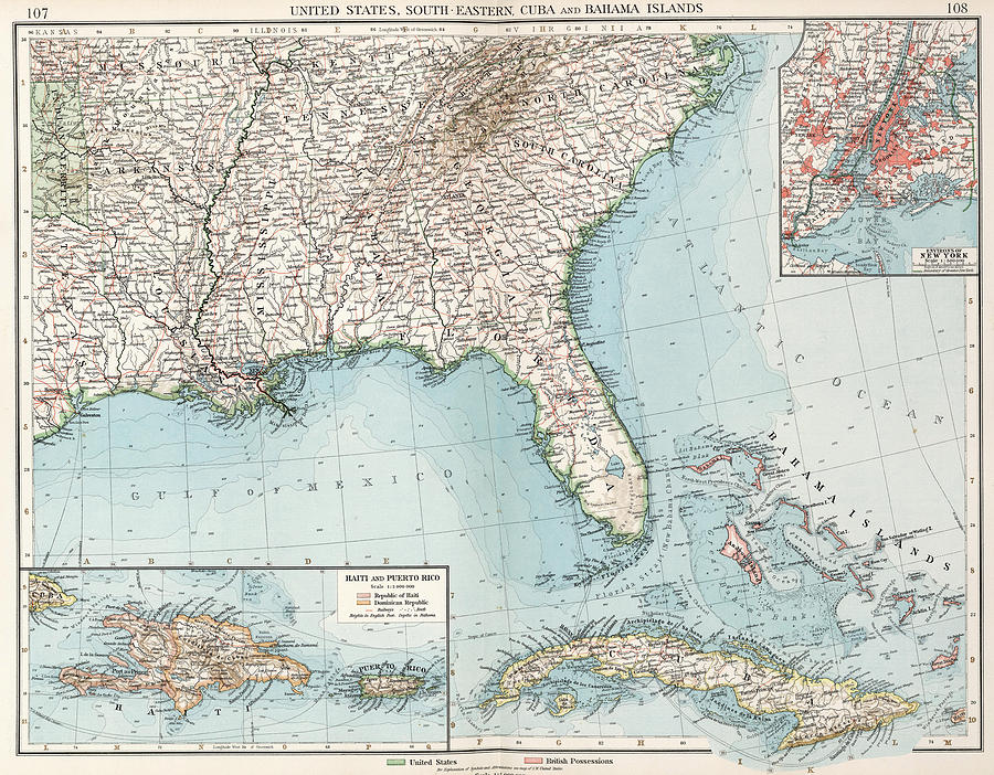 Vintage Southeastern Us And Caribbean Map 1900 Drawing by
