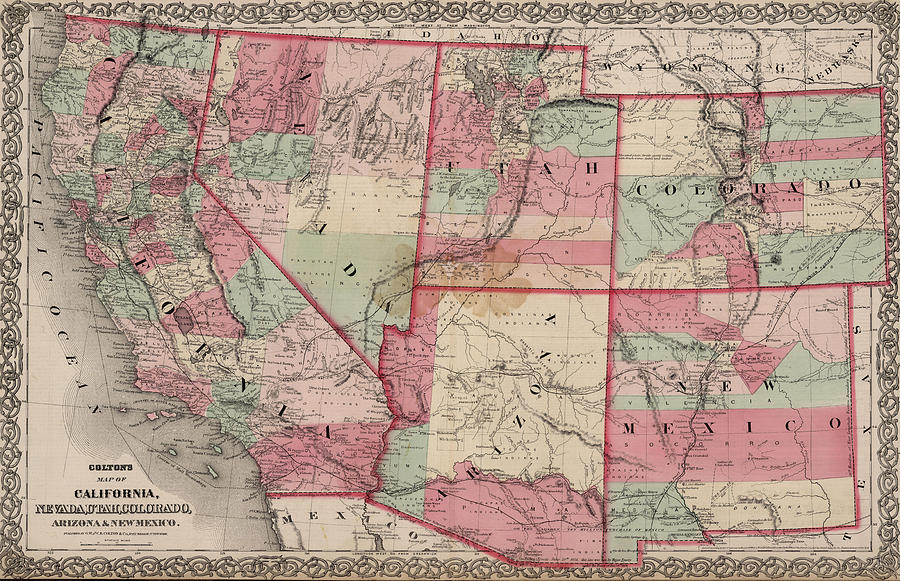 Vintage Southwestern United States Map - 1869 by CartographyAssociates