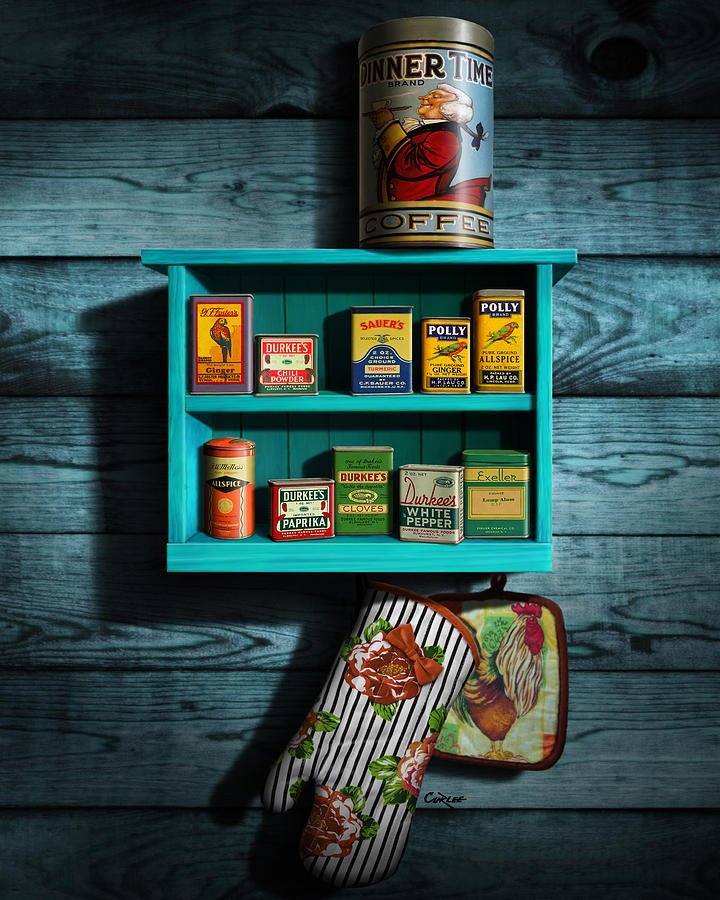Vintage Spice Tins - Nostalgic Spice Rack - Americana Kitchen Art Decor