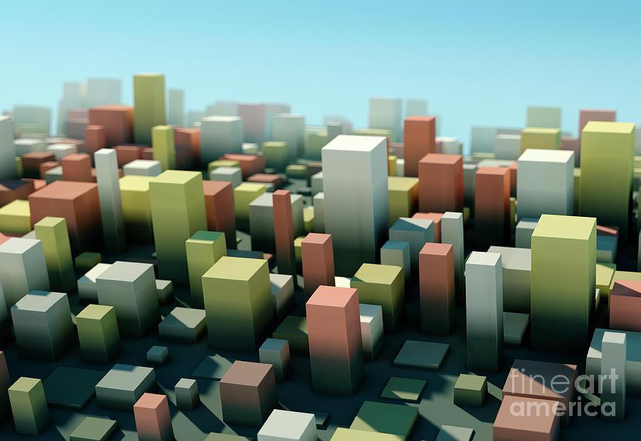 Design Digital Art - Vintage Square Variation Pattern Abstract 3D Cityscape DOF by Frank Ramspott