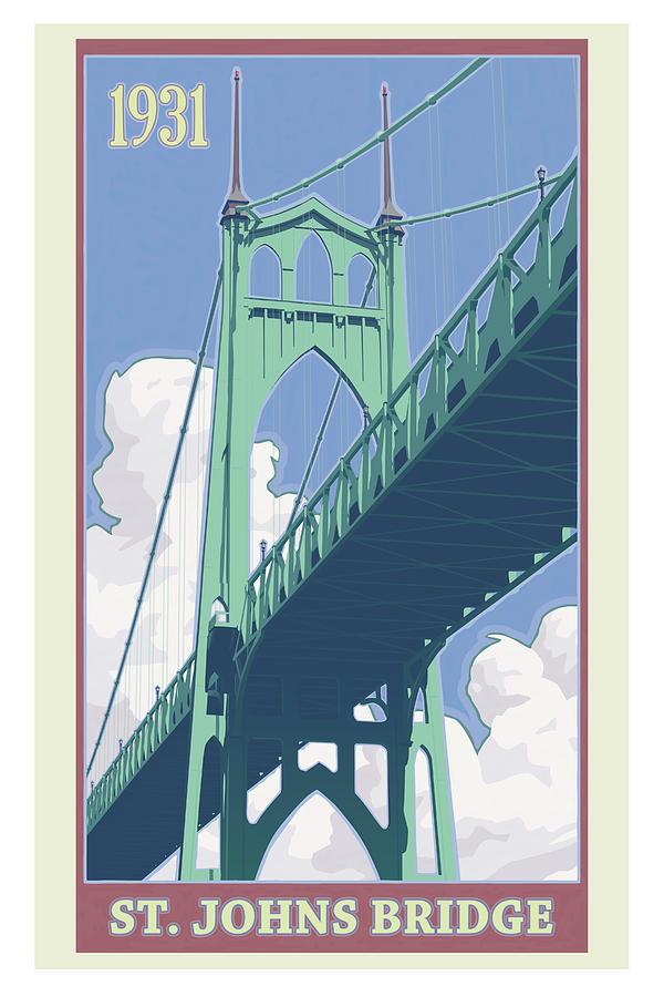Oregon Digital Art - Vintage St. Johns Bridge Travel Poster by Mitch Frey