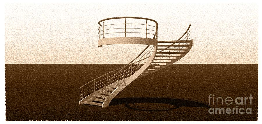 Night Drawing - Vintage Stair 48 Escalera Caracol Helicoidal by Drawspots Illustrations