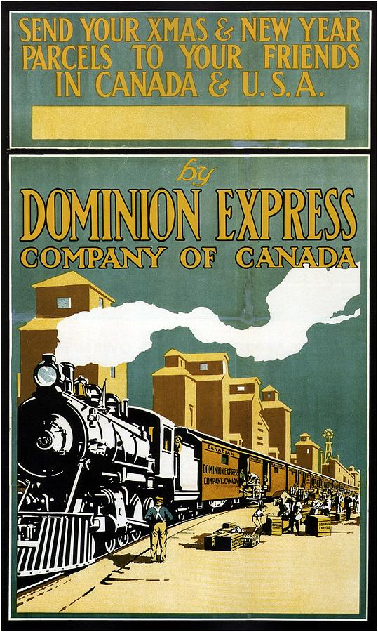 Steam Locomotive Painting - Vintage Steam Locomotive - Dominion Express - Usa and  Canada - Vintage Advertising Poster by Studio Grafiikka