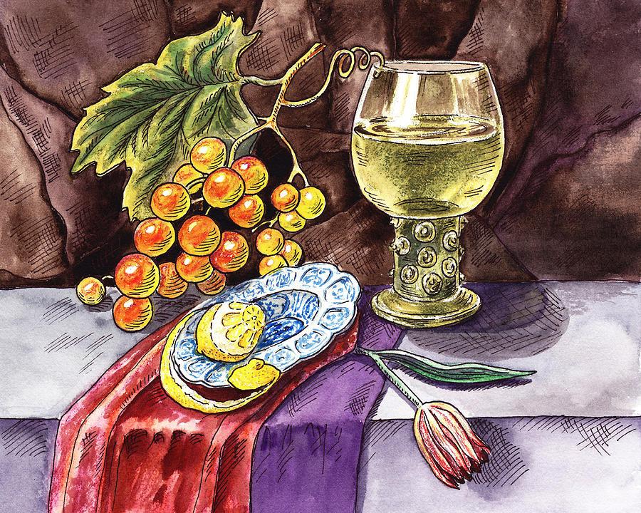 Goblet Painting - Vintage Still Life With Grape And Lemon by Irina Sztukowski