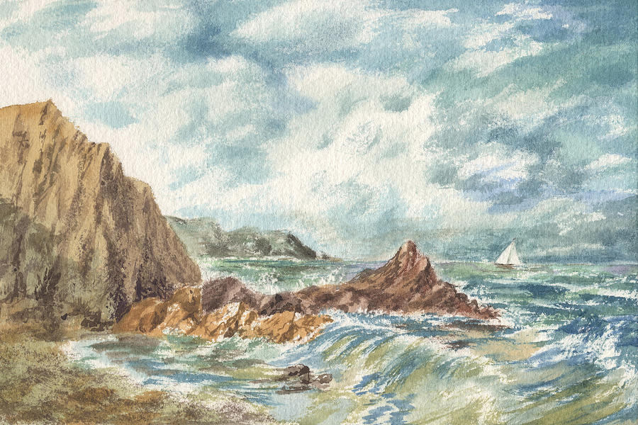 Vintage Storm At Rocky Shore Painting