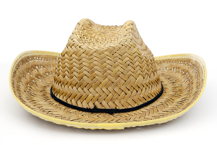 459600e2 Hat Photograph - Vintage Straw Hat Isolated On White by Donald Erickson