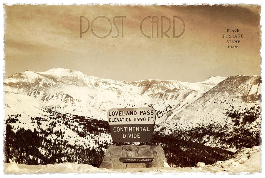 Background Photograph - Vintage Style Post Card From Loveland Pass by Juli Scalzi