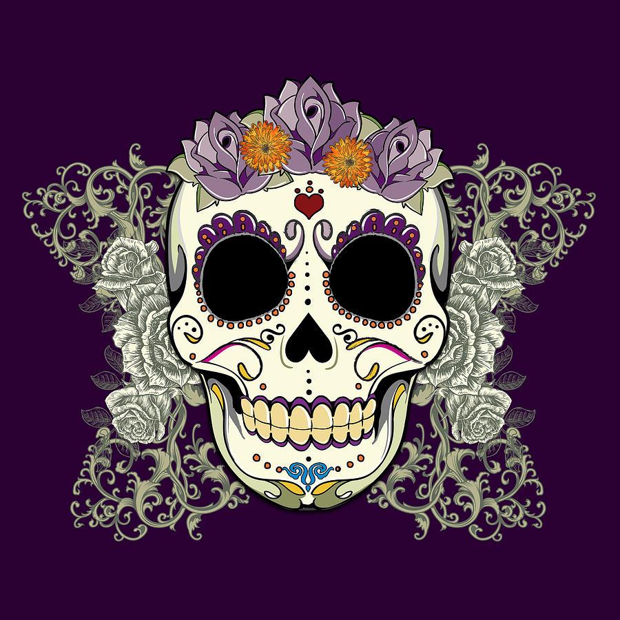 Purple Digital Art - Vintage Sugar Skull And Flowers by Tammy Wetzel