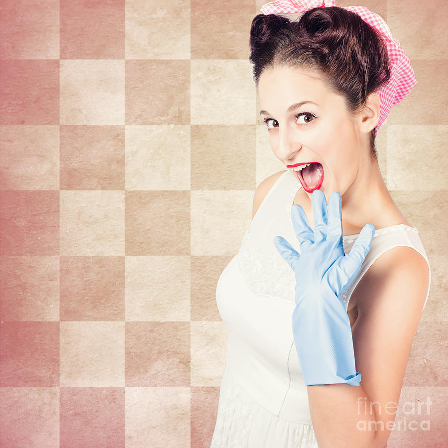 Model Photograph - Vintage Surprised Pinup Woman Doing Housework by Jorgo Photography - Wall Art Gallery