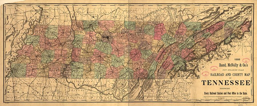 Vintage Tennessee Railroad Map   1888 Photograph by