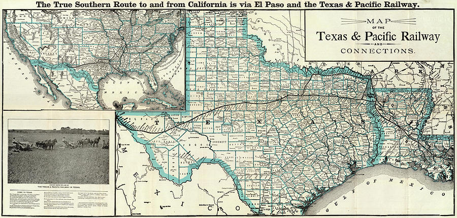 Map Of Texas And Louisiana Border.Vintage Texas And Louisiana Railroad Map 1903 By Cartographyassociates