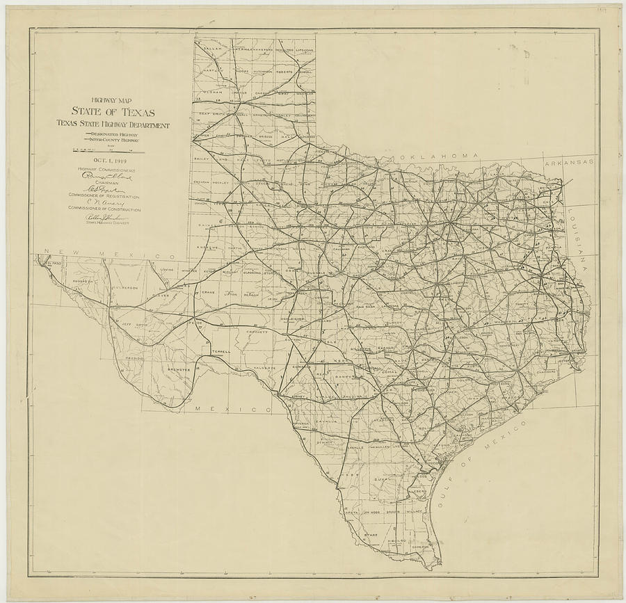 Vintage Texas Highway Map Drawing By Cartographyassociates