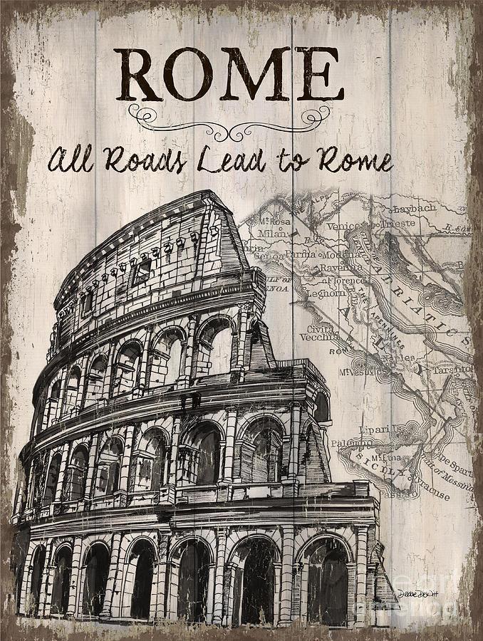 Rome Painting - Vintage Travel Poster by Debbie DeWitt