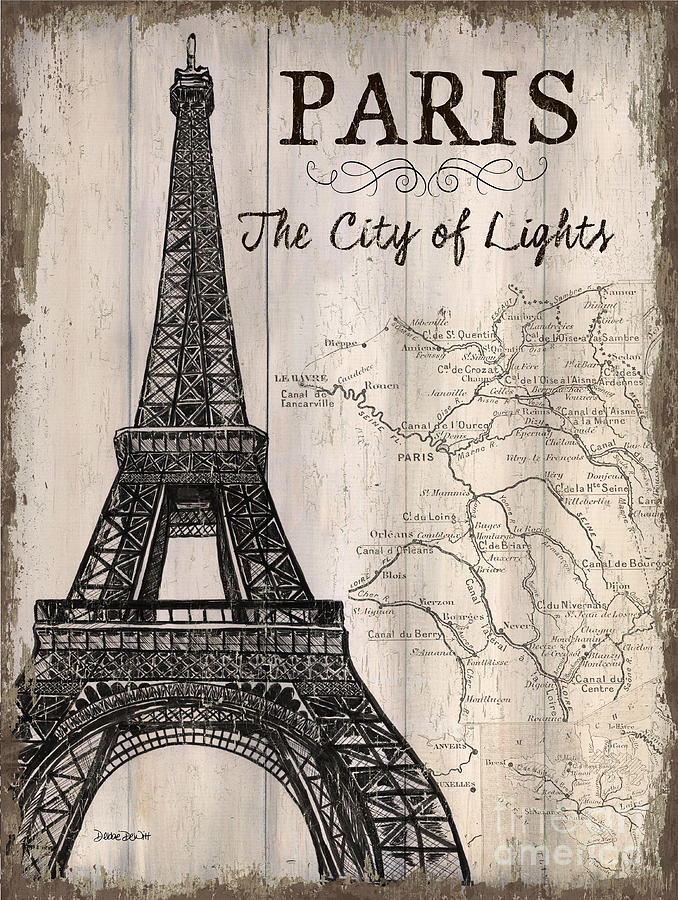 Paris painting vintage travel poster paris by debbie dewitt