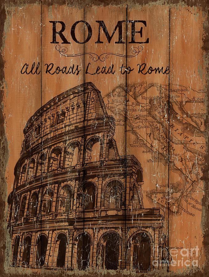 Rome Painting - Vintage Travel Rome by Debbie DeWitt