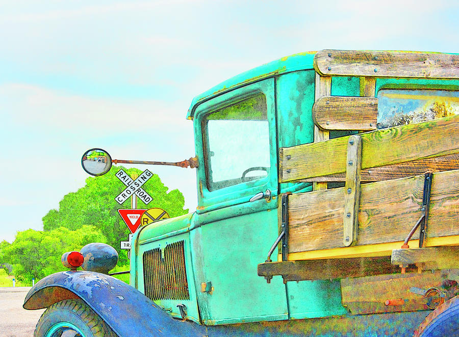 Vintage Truck At The Railroad Crossing - Digital Painting by Mitch Spence
