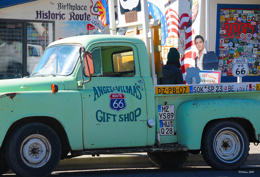 Vintage Truck with Elvis on Historic Route 66 by Victoria Oldham