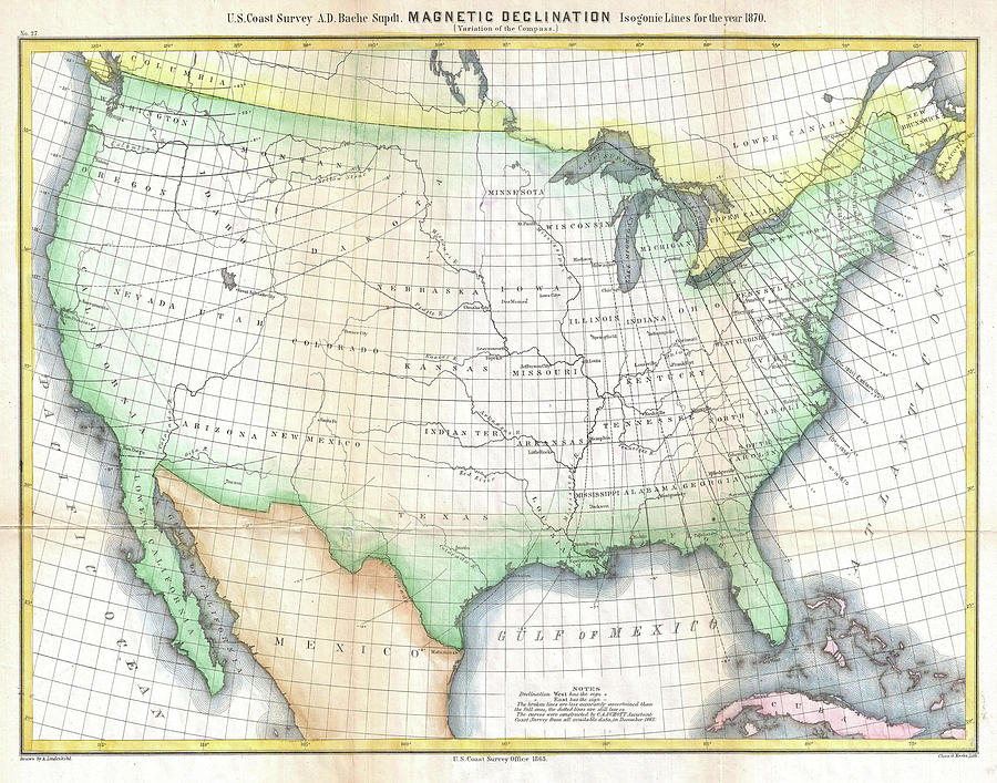 Vintage United States Magnetic Declination Map Drawing By - Magnetic declination map us