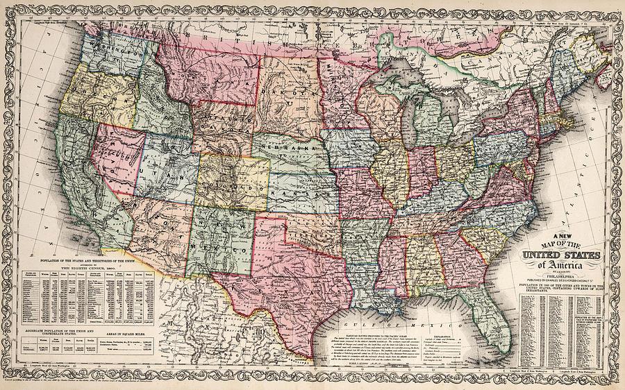 Us Map Political American Politics United States Political - 1860 us map