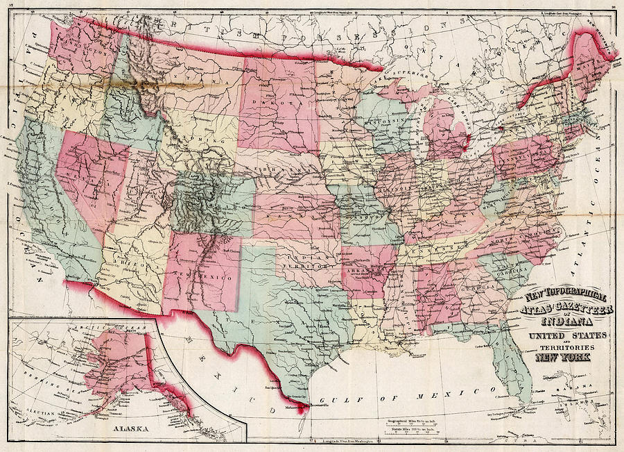 Vintage United States Map 1870 Drawing By Cartographyassociates