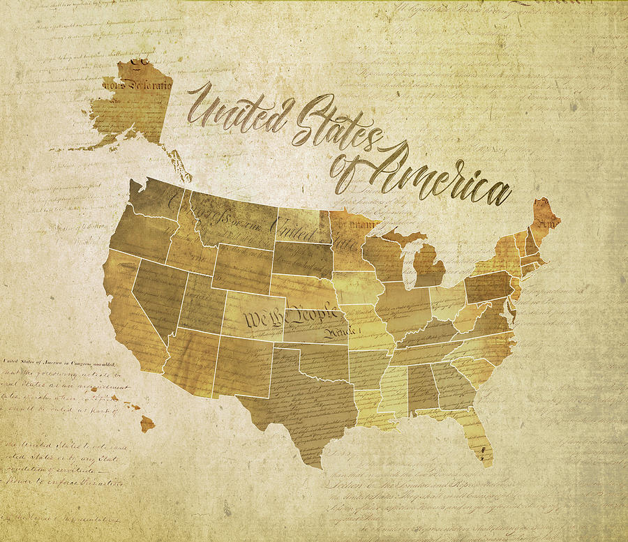 Map Digital Art - Vintage United States of America  by Laura Ostrowski
