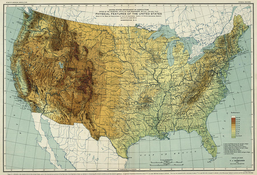 Vintage United States Physical Features Map - 1915 Drawing by ...