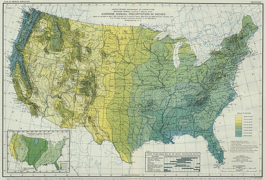 Vintage United States Precipitation Map Drawing By - United states precipitation map
