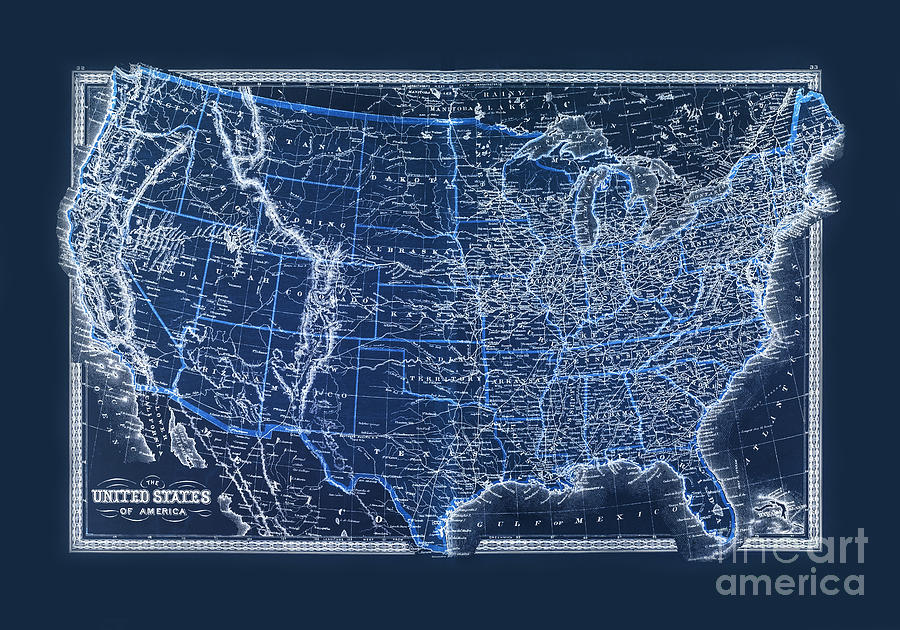 Vintage Us Map From 1880 Photograph by Delphimages Photo Creations