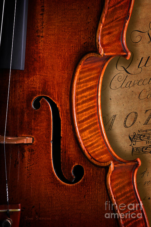 Vintage Violin With Antique Mozart Sheet Music Photograph