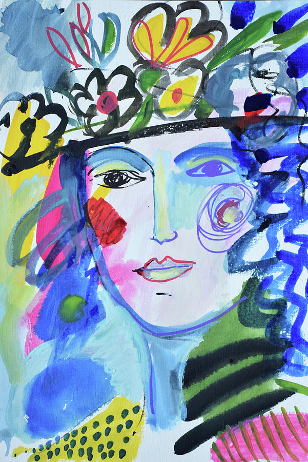 Painting Painting - Vintage Vogue Flower Hat  by Amara Dacer