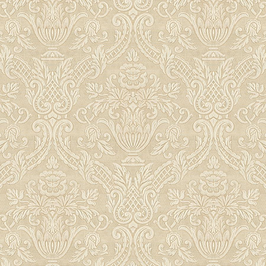 Vintage Wallpaper Beige Floral Elegant Damask Digital Art By Tracie