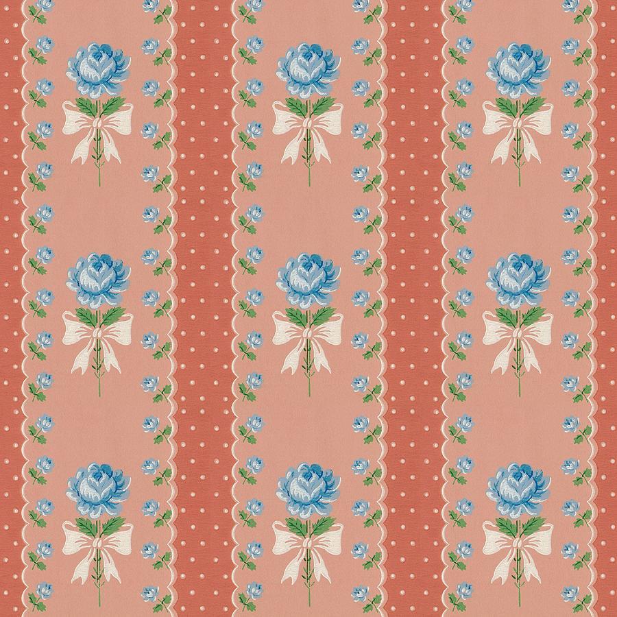 Vintage Wallpaper Blue Roses Coral Polka Dots by Tracie Kaska