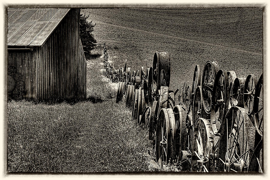Wagon Wheels Photograph - Vintage Wheel Fence by David Patterson