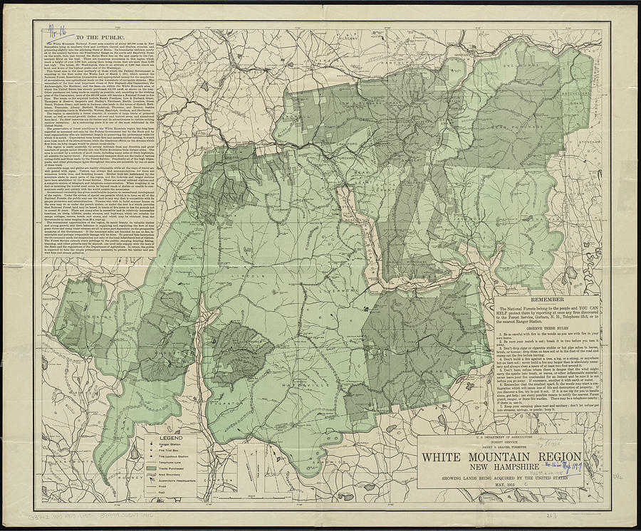 Vintage White Mountains New Hampshire Map - 1915 Drawing