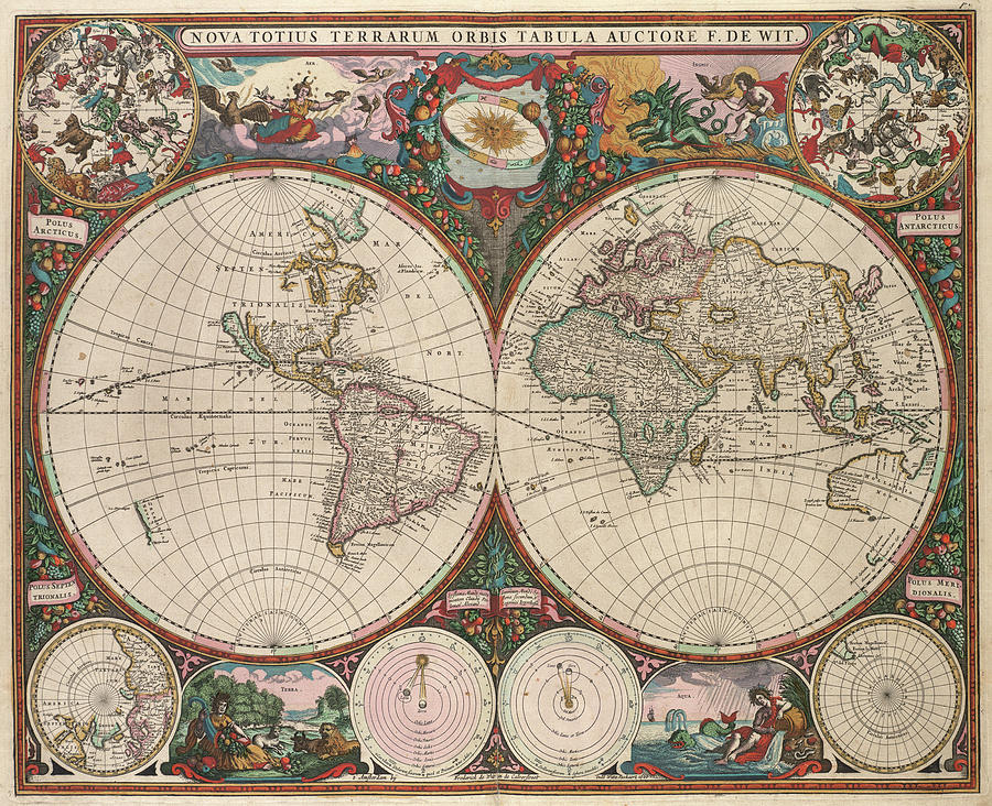 Vintage World Map - 1665 Drawing