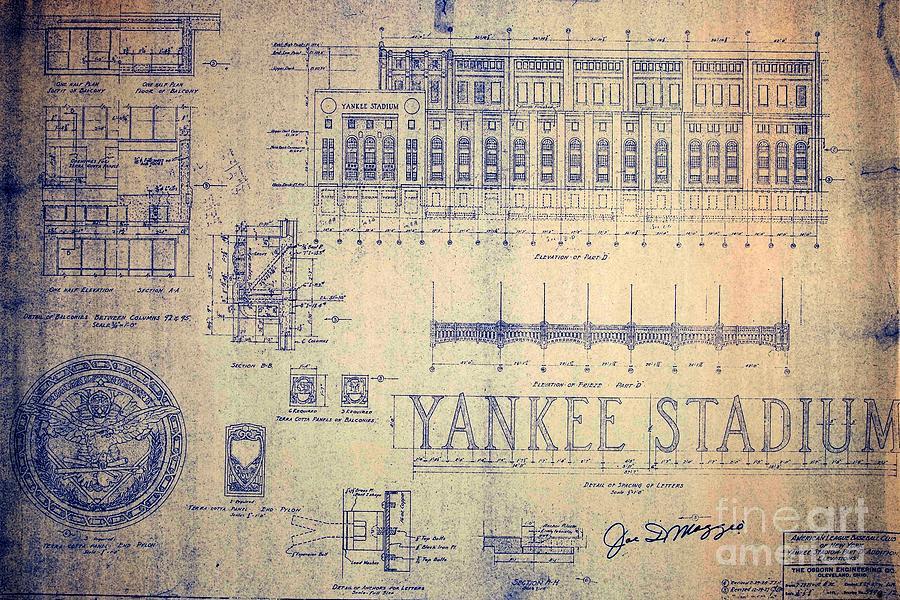 Baseball stadium drawings fine art america baseball stadium drawing vintage yankee stadium blueprint by peter gumaer ogden malvernweather Gallery