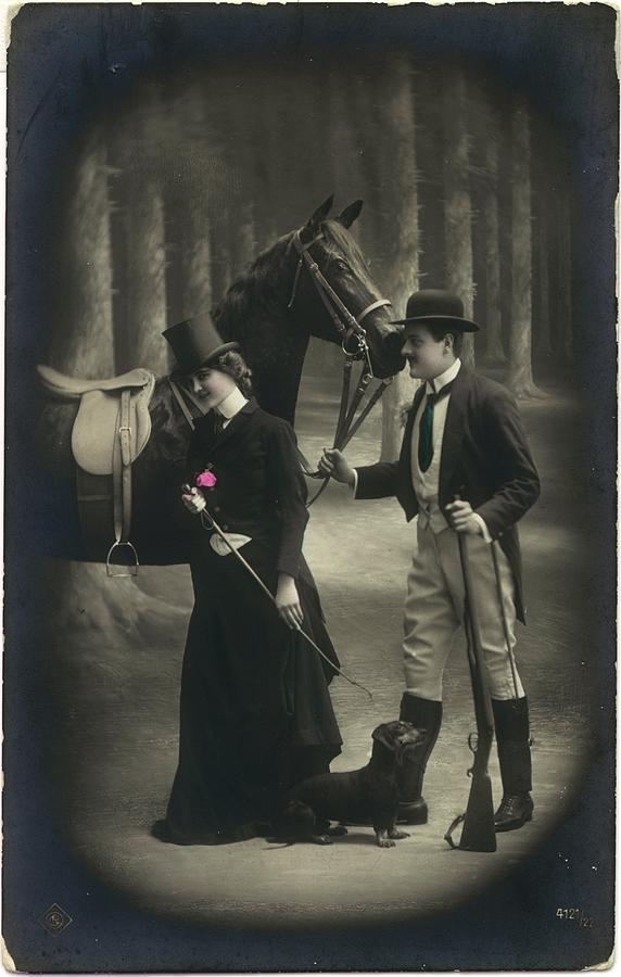 Adults Photograph - Vintage Young Woman And Man With Gun by Gillham Studios