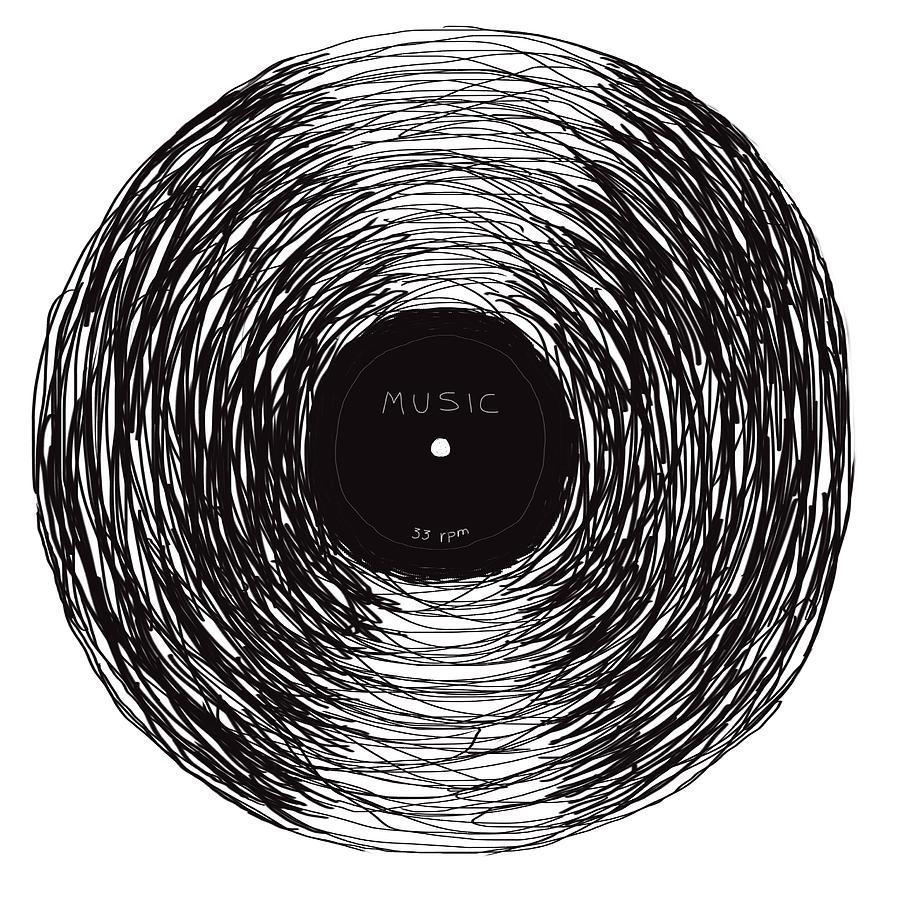 Vinyl Record Drawing By David Maltez