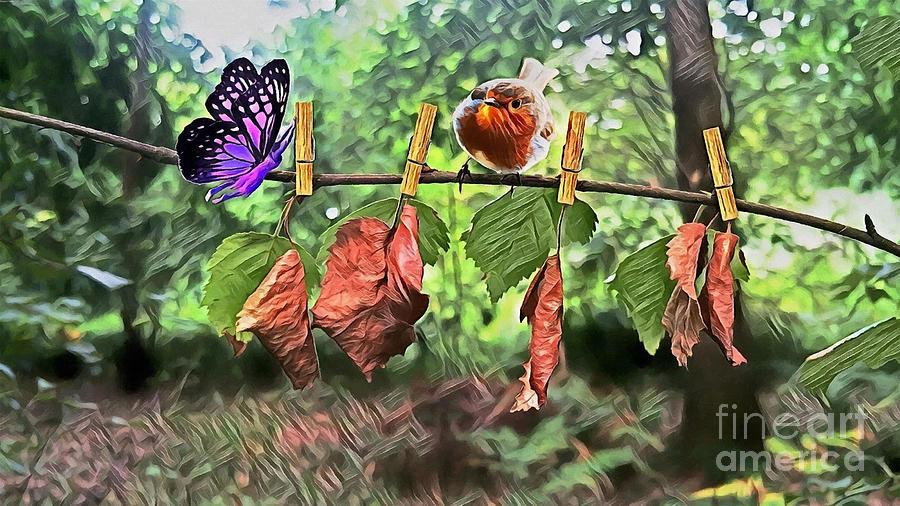 Violet And Robin Digital Art