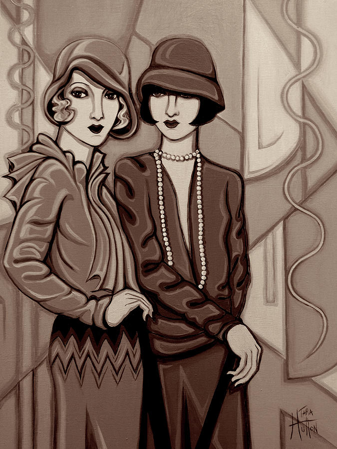 Flappers Painting - Violet And Rose In Sepia Tone by Tara Hutton