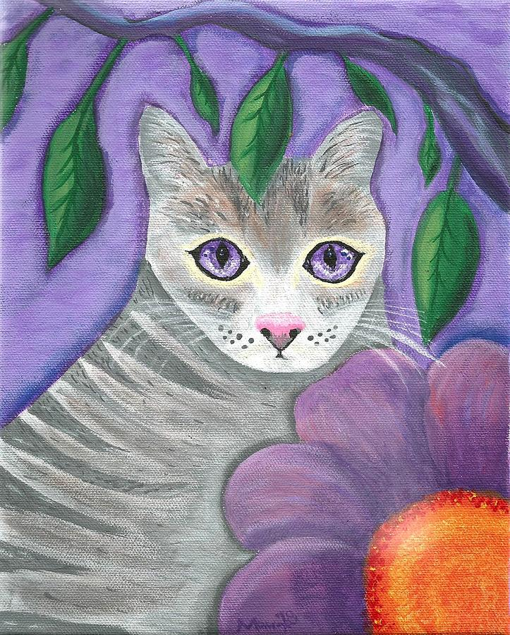 Violet Eyed Cat Painting by Monica Resinger