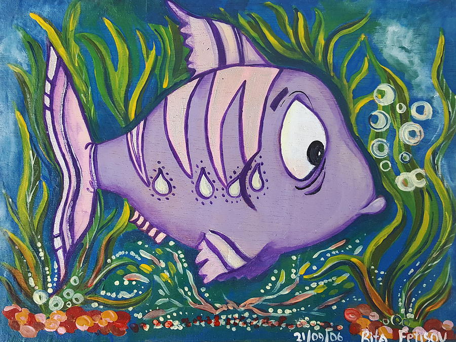 Fish Painting - Violet Fish by Rita Fetisov